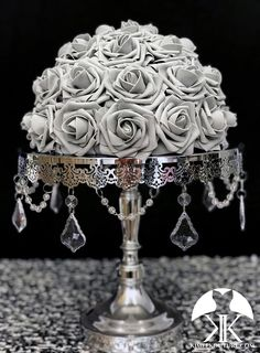 GRAY Rose Arrangement. Half Flower Ball Pomander. Floating Flower Ball. Gray Wedding Centerpiece. GRAY CENTERPIECE. Pick Rose Color 12 Size pictured with GRAY PREMIUM Real Touch ROSES. SILVER STAND WITH CRYSTALS SOLD SEPARATELY  These beautiful roses have a real feel and look to them. Why spend Hot Pink Weddings, Aqua Wedding, Dusty Blue Weddings, Bling Wedding, Flower Ball Centerpiece, Blue Wedding Centerpieces, Mickey Centerpiece, Crown Centerpiece, Flower Girl Bouquet