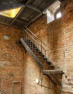 Bismarckturm Dresden by Timber Stair, Stair Railing, Stairs To Heaven, Warehouse Living, Old Brick Wall, Concrete Forms, Industrial Living, Exposed Brick, Large Windows