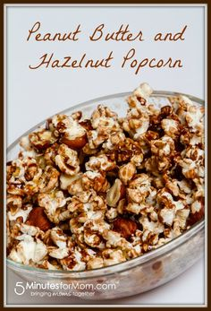 Peanut Butter and Hazelnut Popcorn – This easy popcorn recipe has the best combination of flavors ever invented. It's delicious! Try it out at your next movie night.
