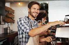 Shot of a good-looking male barista preparing coffee for his. Black Press, Coffee Stock, Coffee Photos, Barista, How To Look Better, Royalty Free Stock Photos, Men Casual, Smile, Mens Tops