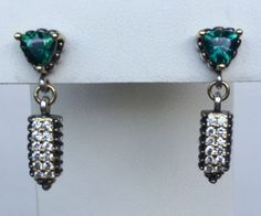 Lagos Caviar Green Emerald Sterling Silver 18K Gold Pave 350 Diamonds Earrings | eBay