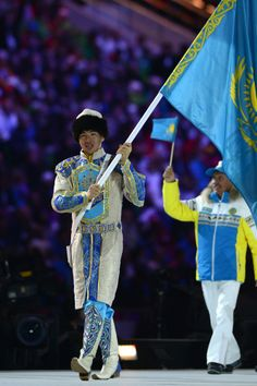 Winter Olympics Sochi 2014 Opening Ceremony Outfits: Kazakhstan's flag-bearer wore a traditional Kazakh outfit, with beautiful embroidery and filigreed boots.