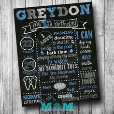 First Birthday Chalkboard Poster Boy Customized by MMChalkboards