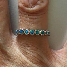 Sterling Silver Lab Opal Ring, Index Ring, Midi Ring, Thumb Ring, Eternity Ring by IndigoandJade on Etsy