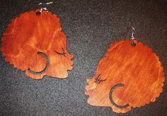 Bronze Babe Wooden Afro Girl Earrings
