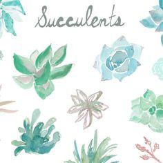 watercolor succulents clip art | angiemakes.com