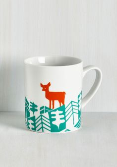 Earth the Wait Mug in Deer. After searching the sea and sky for decor as charming as this white mug, youve found it at long last! #multi #modcloth