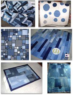 Lots Of Denim Quilt Tutorials and links to many more quilts. Quilting Tips, Quilting Tutorials, Quilting Projects, Sewing Projects, Patchwork Quilt, Rag Quilt, Hexagon Quilt, Jean Crafts, Denim Crafts