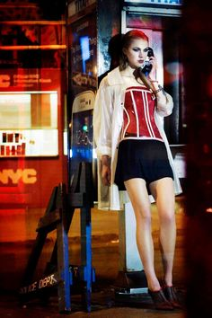 Fashion photo-shoot.   Dark Night in New York City.