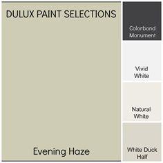 Natural White // Colorbond Monument // Vivid White // Evening Haze
