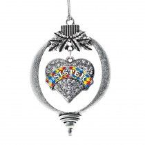 Autism Sister Pave Heart Holiday Ornament