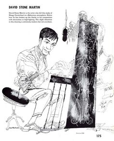 Hoagy Carmichael study, Text book excerpt . Illustration by David Stone Martin.