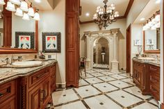 Traditional Master Bathroom with limestone tile floors, Inset cabinets, Vessel sink, High ceiling, Stone Tile, Raised panel