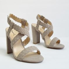 2f42d8b222cf Justine - Taupe Braided Strappy Heels