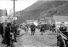 Soapy Smith leads the July 4th Parade in Skagway, 1898.