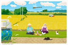 """イラストレーター森俊憲が描く、猫のイラスト『たびねこ』シリーズの新作です。 稲苅りのお昼時に農家の夫婦にお弁当をわけてもらう2匹。『稲刈りの昼ごはん』  It is a new work of the illustration """"TABINEKO"""" series of the cat to draw of illustratorToshinori Mori.  I drew two cats which had the couple of the farmhouse distribute a lunch in time for cutting down. """"Two people and two of them of the rice reaping time"""