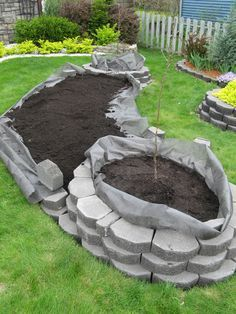 for raised beds first lay down some weed block fabric under where the stones will go. lay your first row of stone and keep going. when done fabric will line the inside edge of stone so soil doesn't seep out over time.