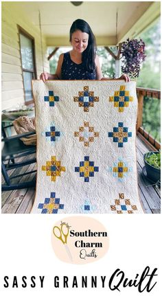 Sassy Granny Quilt I really love this quilt pattern. It's easy and modern and fun! Plus, anything that let's me play with colors in that special way always excites me. Fat quarter friendly! Scrappy Quilts, Baby Quilts, Charm Quilt, How To Finish A Quilt, Shades Of White, Southern Charm, Quilt Making, It's Easy, Quilt Patterns