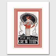 "Art Deco Kitchen Print w/Mat (Flapper Wall Decor, 1920s Diet Cookbook Artwork) ""How Phyllis Grew Thin. Kitchen Art Print w/Mat, Cooking Wall Decor: One in a series of vintage cookbook illustrations available One ""How Phyllis Grew Thin"" fine art print (attached to a bevel-cut mat) of a 1920s Lydia Pinkham diet cookbook cover Colorful art deco artwork: Red and white geometric maze, red-haired flapper with parasol Mat size: 8x10"" white exterior mat, 6""x8"" interior window Premium matte paper..."