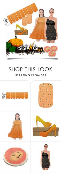 Pumpkin Pattern by cglightningart on Polyvore featuring Mode and MINX   #creepy #scary #halloween #halloweencostume #cookies #nailart #shoes #highheels #pumpkin #dress #orange #pattern