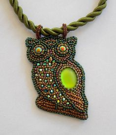 Owl pendant, Bead embroidery, Beaded necklace, green or white pendant, swarovski jewelry, seed bead necklace by vicus. Explore more products on http://vicus.etsy.com