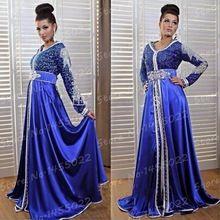 Robe De soirée 2016 elegante De manga larga azul real Kaftan Dubai musulmana árabe De noche vestidos fiesta