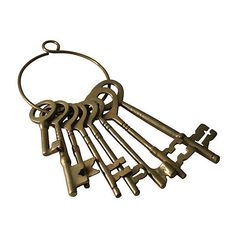 Pre-Owned Brass Skeleton Keys (485 BRL) ❤ liked on Polyvore featuring home, home decor, small item storage, decorative accessories, filler, gold and brass home decor