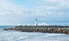Walton Lighthouse, high tide and BIG surf! Scenes From Surf City #santacruz #santacruzcounty