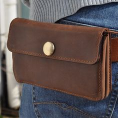 for iPhone 6&Iphone 6 Plus --Genuine Leather wallet with zipper pocket-phone case-belt bag-dark brown leather