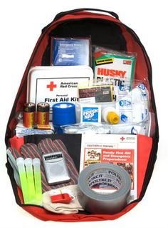 Emergency Preparedness Kit from the Red Cross--this is a great kit to emulate--it includes items such as First Aid Kit, Flashlight, Radio, Blanket, gloves, breathing masks, and light sticks.