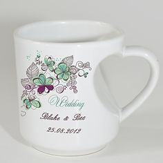 Personalized Mugs with Heart Shaped Handle - Spring Theme - GBP £ 3.26