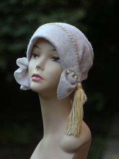 White womens wool felted hat with cord .Retro hat. Retro cap.Hat handmade.Women's felted wool hat .Beauty lady woman .Sleeping Beauty