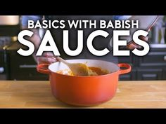 Sauces form the base of many wonderful dishes and thus, are a great place to start in the kitchen. Featuring a salsa, a red sauce, a béchamel, and a red wine. Chefs, Hamburger And Fries, Enamel Dutch Oven, New Year's Cake, Kitchen Confidential, Panko Bread Crumbs, Paleo, Red Sauce, Wine Sauce