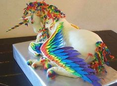 "Unicorn Cake... Dear Becky. If I really did cakes, I would make this for you. But not on your birthday. Some other ""just because"" day."