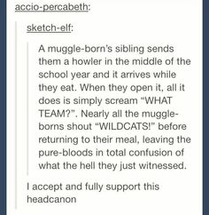 Muggle-borns are the best of both worlds. Geddit? See what I just did there? Oh my gosh, I'm funny.