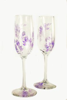 HandPainted Champagne Glasses - Silver and Lavender Purple Roses, Set of 2 -  Toasting Flute Sparkling Wine Glasses