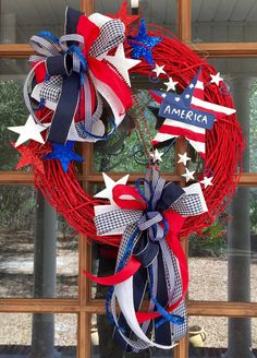 Patriotic Grapevine Wreath / Red Painted by SouthernWhimsyStyle