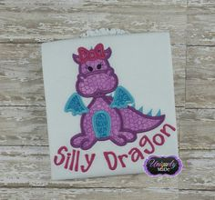 Girls Dragon Applique Shirt Dragon Shirt Girl by UniquelyMaDe02