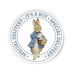 Mailman Rabbit New Baby Boy Birth Announcement Classic Round Sticker
