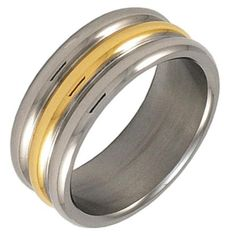 Style Sanctuary - Stainless Steel Ribbed Ring with Gold Band, Stainless Steel Rings, Gold Bands, Fashion Rings, Rings For Men, Fashion Accessories, Engagement Rings, Jewelry, Style, Enagement Rings