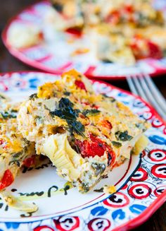 Spinach Artichoke & Roasted Red Pepper Cheesy Squares. Like spinach & artichoke dip, but in bar form. Fast, easy, great for parties