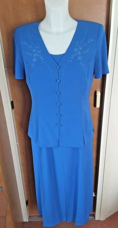 b7ccbc0e880 Jacques Vert Blue Dress  amp  Jacket Size 10 Wedding Guest Mother of the  Bride