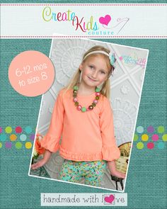 d22c0517f13d Brenda s Bubble Sleeve Top Sizes 6 12m to 15 16 Girls PDF Pattern