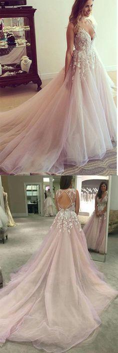 Princess Wedding Dresses, Pink Wedding Dreses, Ball Gown Wedding Dress, Long Wedding Dress/Prom Dress with Appliques, V-neck Wedding Gown, Wedding Dressw
