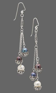 Earrings with Cultured Freshwater Pearls, Sterling Silver Beads and Chain and Antiqued Sterling Silver Bead Caps @Fire Mountain Gems and Beads