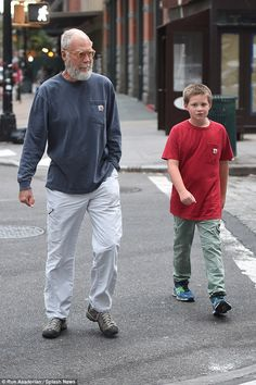 Father and son outing: Letterman retired from his position as host of CBS' Late Show four months ago. He was replaced by comedian Stephen Colbert Father Knows Best, Santa Beard, Father's Day Greeting Cards, Star Family, All In The Family, Stephen Colbert, Celebrity Moms, Family Affair