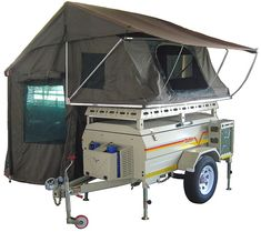 The Savuti Trailer is compact yet sports a deeper body than standard trailers, allowing for storage of typical camping equipment inside. Motorcycle Camper Trailer, Camping Trailer Diy, Trailer Tent, Off Road Camper Trailer, Tent Campers, Camper Caravan, Camper Trailers, Small Campers, Travel Trailers