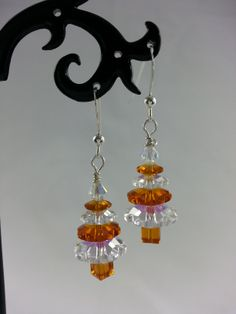 Genuine Swarovski crystal topaz and clear Christmas tree earrings.  Also available as a necklace.