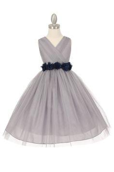 Silver/Navy Blue Tulle V-Neck with Removable Floral Sash Flower Girl Dress