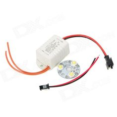 3W 120lm 6500K White Light 3-LED Emitter with Power Supply Driver (100~240V). Model GY-TH-3*1W Material Aluminum + Plastic Color White Quantity 1 Emitter Type LED Total Emitters 3 Power 3 W Color BIN White Rate Voltage 100~240 V Luminous Flux 90~120 lm Color Temperature 6000~6500 K Application Great for house indoor lighting Other Cable length: 25.5cm Packing List 1 x LED emitter 1 x Power supply driver. Tags: #Lights #Lighting #Bulbs #and #Strips #LED #Bulb #Parts #Leds